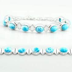 30.39cts tennis natural blue larimar 925 sterling silver bracelet jewelry t55043