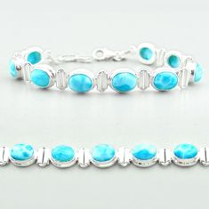 29.55cts tennis natural blue larimar 925 sterling silver bracelet jewelry t55045