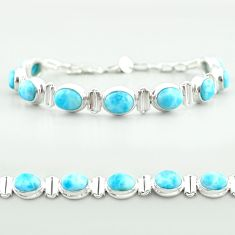 29.80cts tennis natural blue larimar 925 sterling silver bracelet jewelry t55047