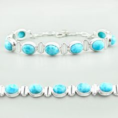 30.05cts tennis natural blue larimar 925 sterling silver bracelet jewelry t55049