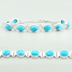 30.39cts tennis natural blue larimar 925 sterling silver bracelet jewelry t55050