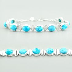 30.13cts tennis natural blue larimar 925 sterling silver bracelet jewelry t55052