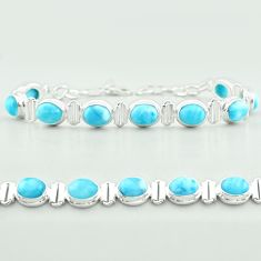 29.84cts tennis natural blue larimar 925 sterling silver bracelet jewelry t55053