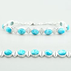 29.84cts tennis natural blue larimar 925 sterling silver bracelet jewelry t55055