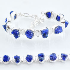 39.46cts tennis natural blue sapphire raw 925 sterling silver bracelet t6665