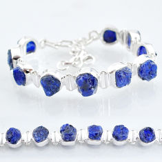 36.96cts tennis natural blue sapphire raw 925 sterling silver bracelet t6666