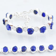 40.73cts tennis natural blue sapphire raw 925 sterling silver bracelet t6668