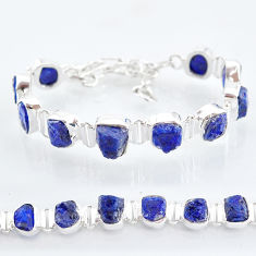37.90cts tennis natural blue sapphire raw 925 sterling silver bracelet t6669