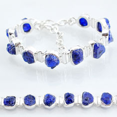 40.77cts tennis natural blue sapphire raw 925 sterling silver bracelet t6670