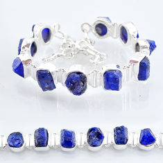 41.06cts tennis natural blue sapphire raw 925 sterling silver bracelet t6672