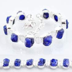 43.17cts tennis natural blue sapphire raw 925 sterling silver bracelet t6673