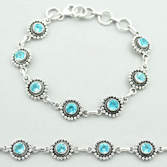 6.51cts tennis natural blue topaz 925 sterling silver bracelet jewelry t52077