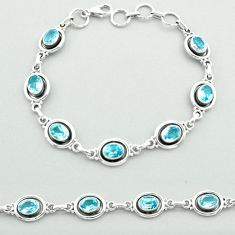 9.79cts tennis natural blue topaz 925 sterling silver bracelet jewelry t52078