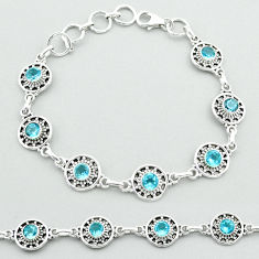 6.54cts tennis natural blue topaz 925 sterling silver bracelet jewelry t52105