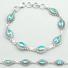 10.33cts tennis natural blue topaz 925 sterling silver bracelet jewelry t52129