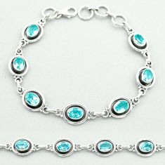 11.36cts tennis natural blue topaz 925 sterling silver bracelet jewelry t52130