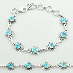 6.16cts tennis natural blue topaz 925 sterling silver bracelet jewelry t52152