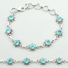 6.16cts tennis natural blue topaz 925 sterling silver bracelet jewelry t52153