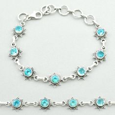 6.02cts tennis natural blue topaz 925 sterling silver bracelet jewelry t52167