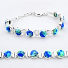 28.30cts tennis natural blue turquoise azurite oval 925 silver bracelet t37652