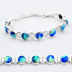 28.30cts tennis natural blue turquoise azurite oval 925 silver bracelet t37653