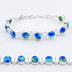 28.58cts tennis natural blue turquoise azurite oval 925 silver bracelet t37654