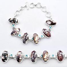 59.09cts tennis natural bronze wild horse magnesite 925 silver bracelet t37643