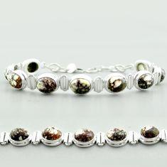 37.55cts tennis natural bronze wild horse magnesite 925 silver bracelet t55582