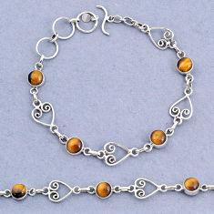 10.14cts tennis natural brown tiger's eye 925 sterling silver bracelet t8351