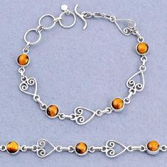 9.93cts tennis natural brown tiger's eye 925 sterling silver bracelet t8352
