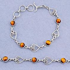 10.16cts tennis natural brown tiger's eye 925 sterling silver bracelet t8354