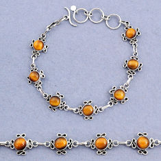 14.91cts tennis natural brown tiger's eye 925 sterling silver bracelet t8369