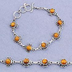 14.92cts tennis natural brown tiger's eye 925 sterling silver bracelet t8370