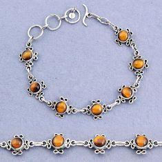 14.61cts tennis natural brown tiger's eye 925 sterling silver bracelet t8372