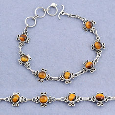 14.92cts tennis natural brown tiger's eye 925 sterling silver bracelet t8373