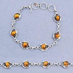 13.90cts tennis natural brown tiger's eye 925 sterling silver bracelet t8392