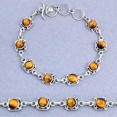 16.42cts tennis natural brown tiger's eye 925 sterling silver bracelet t8410