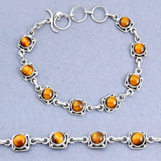 16.77cts tennis natural brown tiger's eye 925 sterling silver bracelet t8411