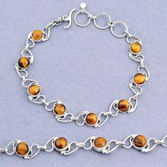 16.42cts tennis natural brown tiger's eye 925 sterling silver bracelet t8437