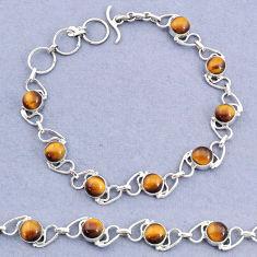 17.34cts tennis natural brown tiger's eye 925 sterling silver bracelet t8438