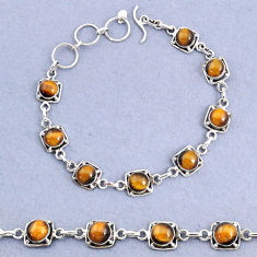 16.77cts tennis natural brown tiger's eye 925 sterling silver bracelet t8448