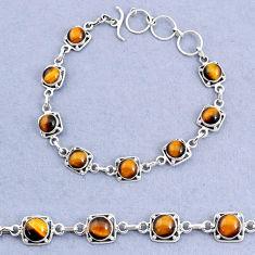 16.77cts tennis natural brown tiger's eye 925 sterling silver bracelet t8451