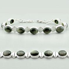 37.85cts tennis natural golden sheen black obsidian 925 silver bracelet t55621
