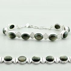 37.24cts tennis natural golden sheen black obsidian 925 silver bracelet t55622