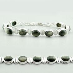 37.60cts tennis natural golden sheen black obsidian 925 silver bracelet t55623