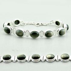 37.55cts tennis natural golden sheen black obsidian 925 silver bracelet t55625