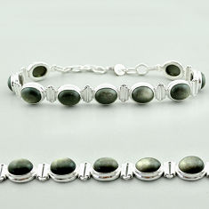 37.24cts tennis natural golden sheen black obsidian 925 silver bracelet t55626