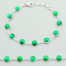 21.48cts tennis natural green malachite (pilot's stone) silver bracelet t40292