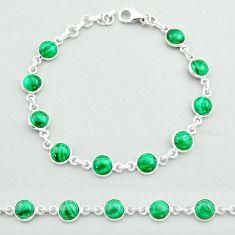 22.07cts tennis natural green malachite (pilot's stone) silver bracelet t40293