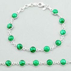 21.01cts tennis natural green malachite (pilot's stone) silver bracelet t40294